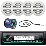 JVC Marine Boat Yacht Radio Stereo Player Receiver Bundle Combo with 4x Magnadyne 5 Inch White Waterproof Outdoor Speakers, Enrock 22 Radio Antenna, 50 ft 16g Speaker Wire