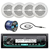 JVC KD-X33MBS Marine Boat Yacht Radio Stereo Player Receiver Bundle Combo With 4x Magnadyne WR45W 5'' Inch White Waterproof Outdoor Speakers, Enrock 22'' Radio Antenna, 50 Foot 16g Speaker Wire