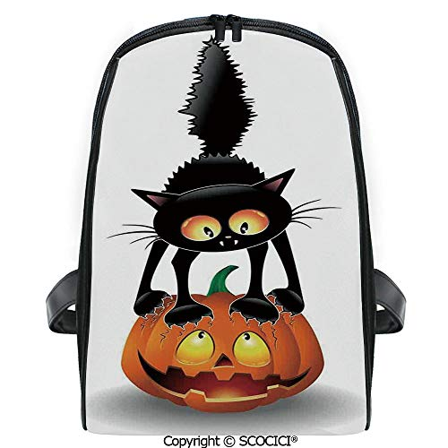 SCOCICI Primary School Student Book Bag Black Cat on Pumpkin Spooky Cartoon Characters Halloween Humor Art for Girls/Boys Back To School Gift