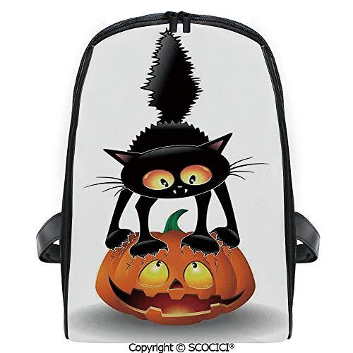 SCOCICI Primary School Student Book Bag Black Cat on Pumpkin Spooky Cartoon Characters Halloween Humor Art for Girls/Boys Back To School Gift