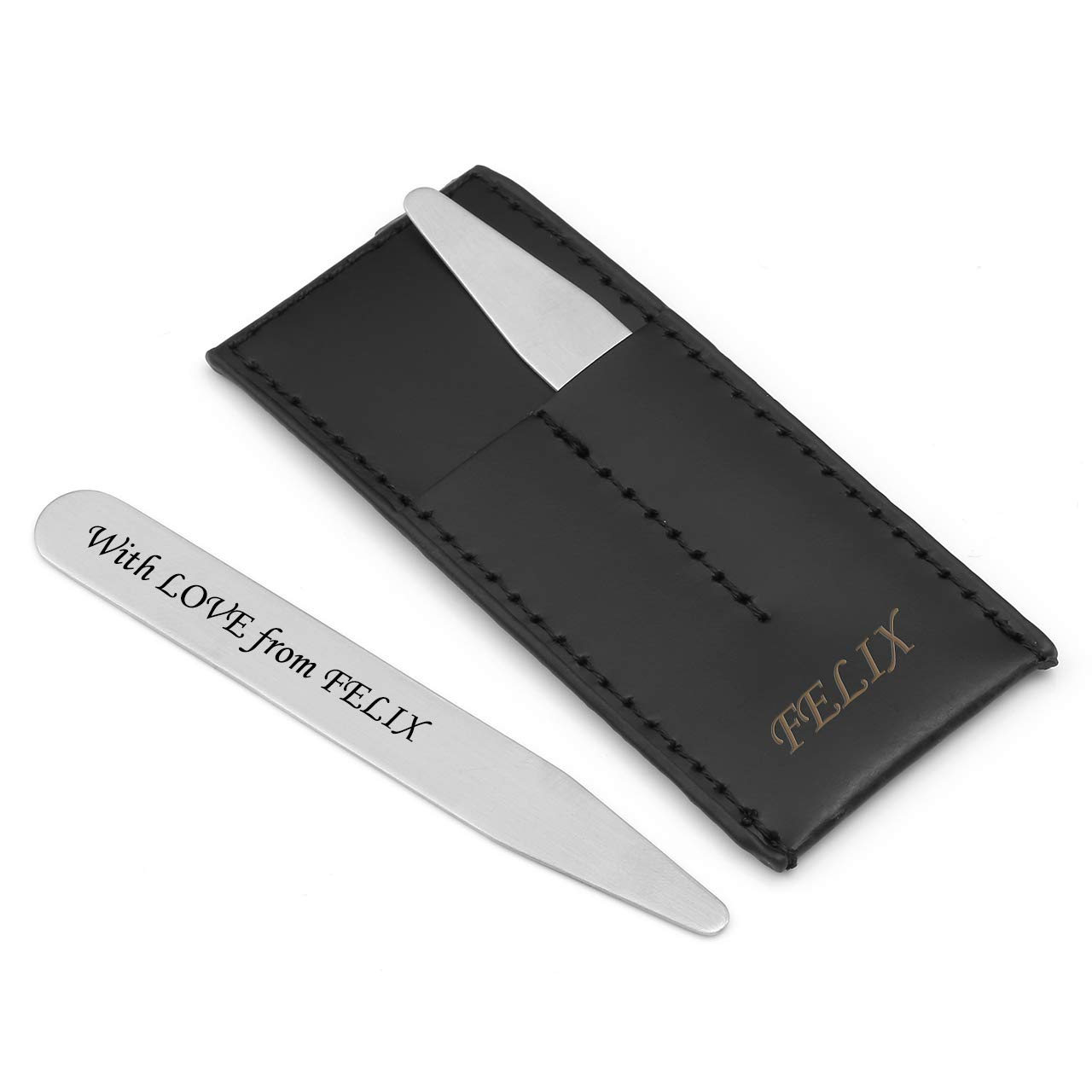 PiercingJ Personalized Engraved 2pcs Matte Stainless Steel Collar Stays Bones in Black Genuine Leather Case Travel Set Assorted for Mens Dress Shirt 2.2 2.5 3