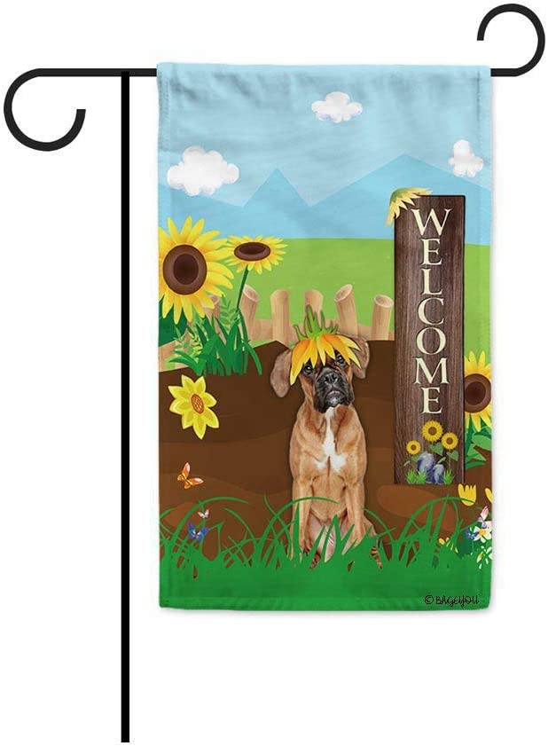 BAGEYOU Welcome Summer Sunflower Dog Garden Flag Boxer Dog Playing on a Country Farm Butterfly Flowers Decor Banner for Outside 12.5x18 Inch Print Double Sided
