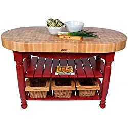 [S]Harvest Table Kitchen Island by John Boos Barn Red