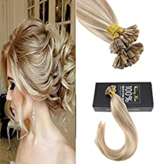 Sunny 14inch Flat Tip Hair Extensions Pre Bonded Keratin Tip Fusion Brazilian Remy Human Hair Extensions 1G/1S 50G P#18/613 Dark Ash Blonde highlights Blonde