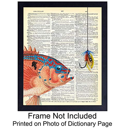(Fishing Upcycled Dictionary Wall Art Print - 8x10 Vintage Unframed Photo - Perfect Gift for Fishermen and Great Beach and Lake House Home Decor - Salmon)