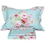 FADFAY Shabby Pink Floral Bed Sheet Set 100% Cotton Deep Pocket 4-Piece Twin Size