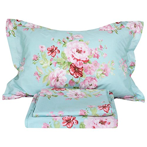 FADFAY Shabby Pink Floral 4 Piece Bed Sheet Set 100% Cotton Deep (Pink Floral Bedding)