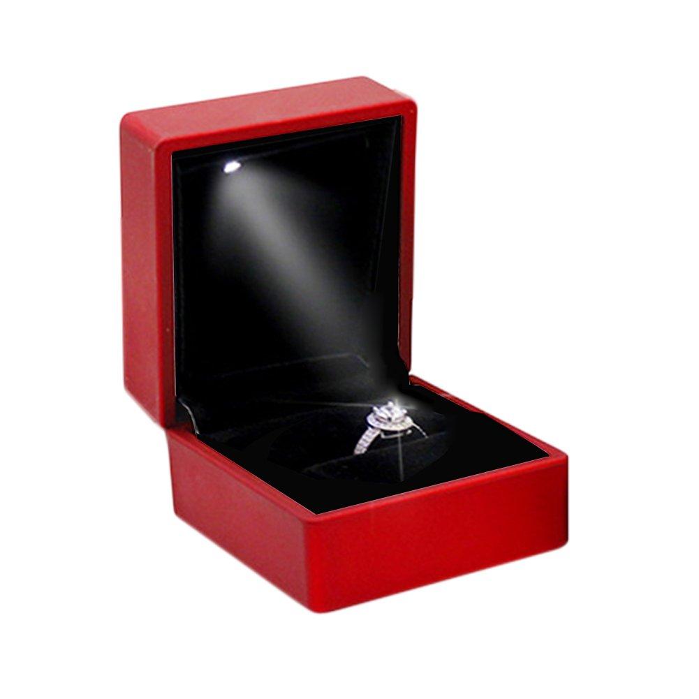 Gaeruite anello di fidanzamento, con luce, piazza LED Jewelry Gift Box case per anello di fidanzamento in scatola, LED luce lusso anello ciondolo collana regalo di nozze box, Blue, Pendant Box
