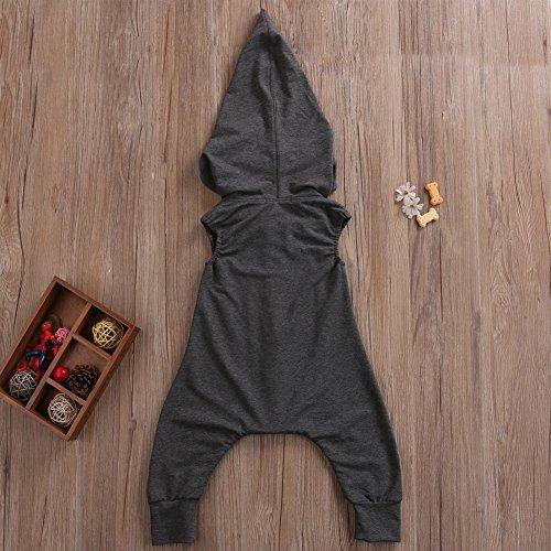 GRNSHTS Baby Boys Sleeveless Zipper Hoodie Bodysuit (110 / 2-3 Years, Dark grey)