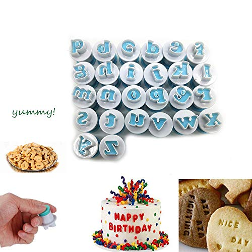 26 Pcs Upper&Lowercase Alphabet Letter Cookie Cutters Alphabet Letter Biscuit Fondant Cake Cookie Stamp Impress Embosser Cutter (Lowercase Letters)