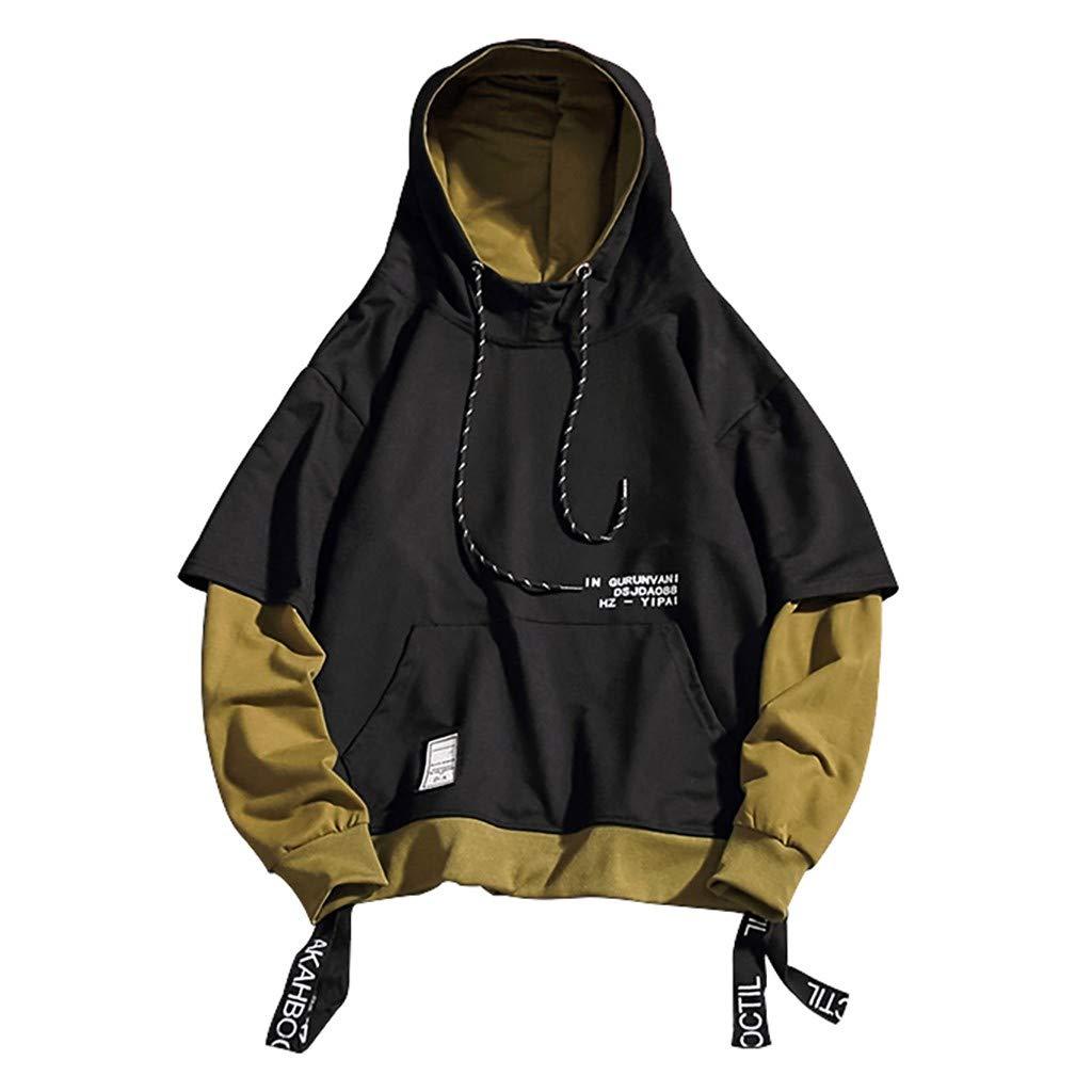 AcisuHu Hot Men Jacket Pullover-Hoodie Teen Splice Fashion Print Hoodie Sweatshirt with Drawstring Hooded,Autumn&Winter