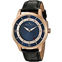 Lucien Piccard Men's 'Grotto' Quartz Stainless Steel and Black Leather Casual Watch (Model: LP-15024-RG-03)