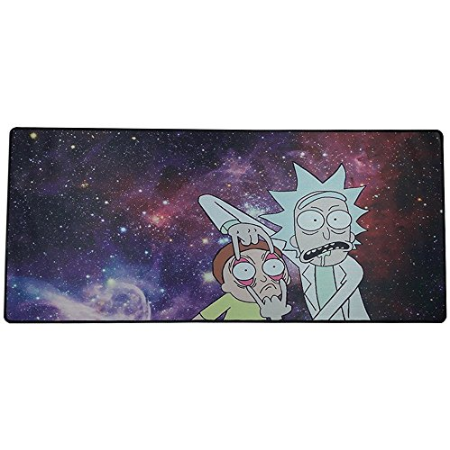 Extended Gaming Mouse Pad Stitched Edge Large Waterproof Mouse Pad Accuracy Optimized for All Computer Mouse Sensitivity MMO and Sensors Fits Both Mouse & Keyboard(Rick and Morty) 800mm×300mm×2mm) by KIKUCHI