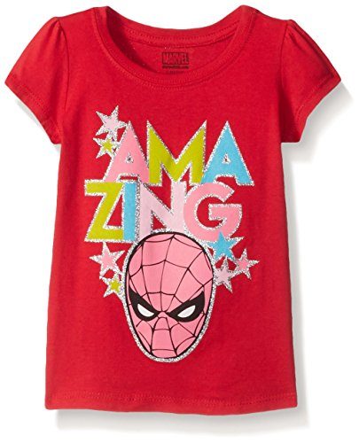 Marvel Little Girls' Toddler Thor, Captain America or Spiderman T-Shirt, Spiderman Red, 3T (Spiderman Clothes For Girls)