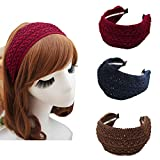 Esuno Wide Hard Headbands, 3PCs Fashion Vintage Beauty Woven Wide Headband Retro Fabric Knitting Headband for Women Girl (A-3PCs)