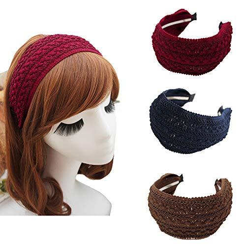 Esuno Wide Hard Headbands, 3PCs Fashion Vintage Beauty Woven Wide Headband Retro Fabric Knitting Headband for Women Girl (A-3PCs)