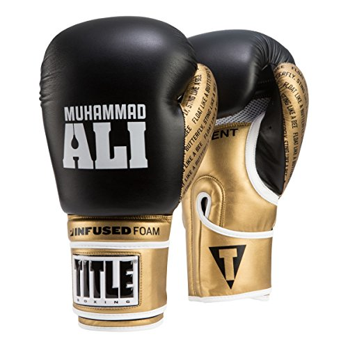 Title Boxing Ali Infused Foam Training Gloves, Black/Gold, 12 oz
