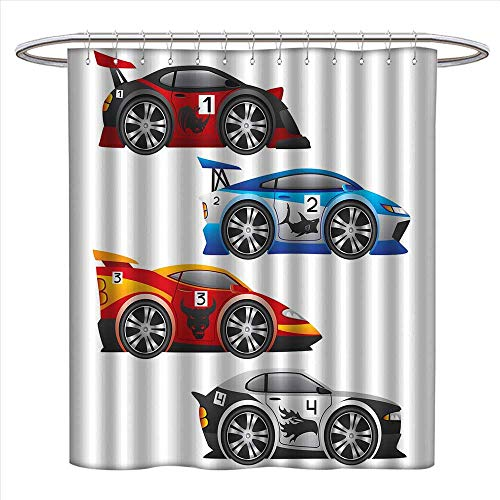 bybyhome Cars Shower Curtains Fabric Extra Long Collection of Formula Race Cars Modern Mechanical Technology Automotive Championship Bathroom Accessories W72 x L84 Multicolor