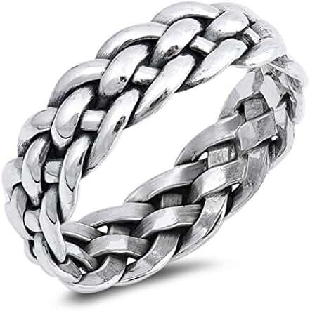 Sterling Silver Wraparound Braid Ring (Size 7 - 13)