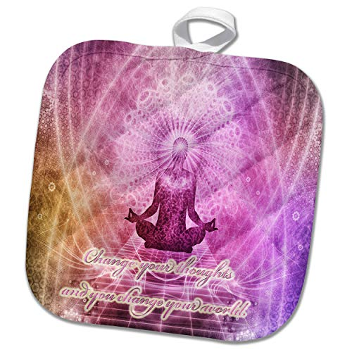 3dRose Spiritual Awakenings Meditation - Prayer and Meditation motivational art - 8x8 Potholder (phl_290262_1) by 3dRose