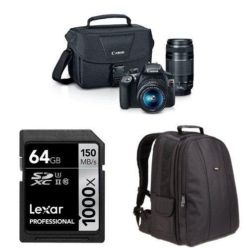 Canon EOS Rebel T6 Digital SLR Camera Kit with EF-S 18-55mm and EF 75-300mm Lenses + AmazonBasics DSLR Bag and 64...