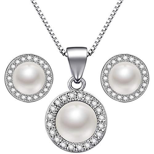 Lydreewam Perlen Kette Ohrringe Schmuckset Silber 925 für Damen, Muttertag Geschenk mit Blau Geschenkbox
