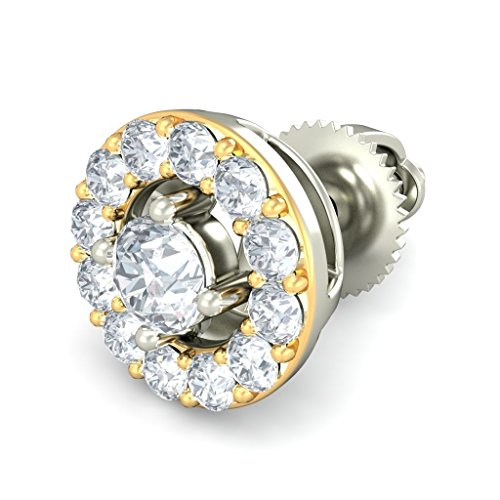18 K Or Blanc 0,33 CT TW Round-cut-diamond (IJ | SI) Boucles d'oreille à tige