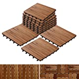 tile floor patterns Patio Pavers | Composite Decking Flooring and Deck Tiles | Acacia Wood | Suitable for Indoor and Outdoor Applications | Stripe Pattern | 12x12 inches - Pack of 11 Tiles