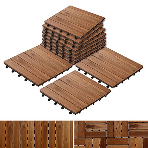 "Acacia Wood Tile Flooring, Patio Pavers & Composite Decking | Interlocking Patio Tiles for Outdoor & Indoor | Stripe Pattern 12""×12""- Pack of 11 -"