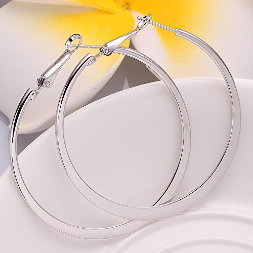 Xiaodou Flat Big Hoop Earrings For Women Girls Silver 14k Gold Rose Gold Large Basketball Huggie Hoops For Sensitive Ears (White)