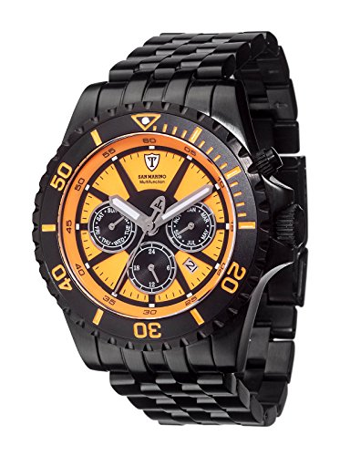 Detomaso Men's DT1065-B San Marino Multifunction Divers Trend Orange/Schwarz Analog Display Japanese Quartz Black Watch