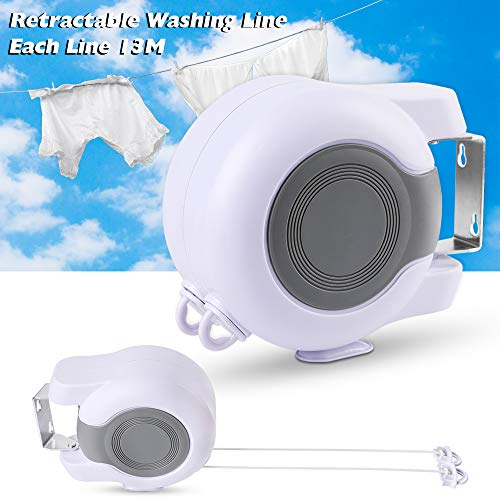 Urijk Retractable Clothesline,Outdoor 85ft Adjustable Travel Heavy Duty Portable Clothesline Rope, Double Washing Line Clothes Drying Line Indoor Outdoor Washing Laundry Tool