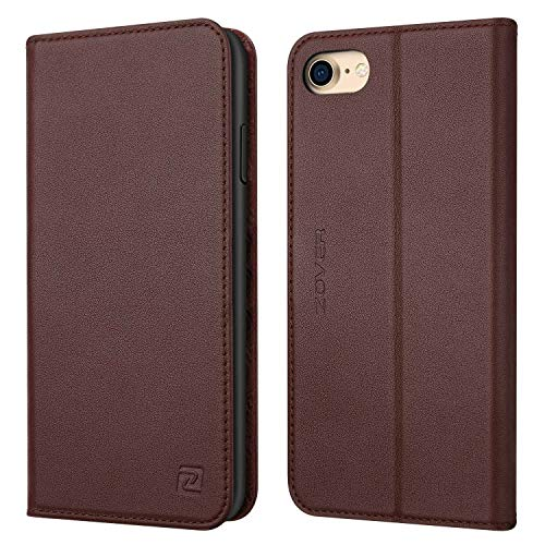 iPhone 8 case iPhone 7 case ZOVER Genuine Leather Case Flip Folio Book Case Wallet Cover with Kickstand Feature Card Slots & ID Holder and Magnetic Closure for iPhone 7 and iPhone 8 Dark Brown ()