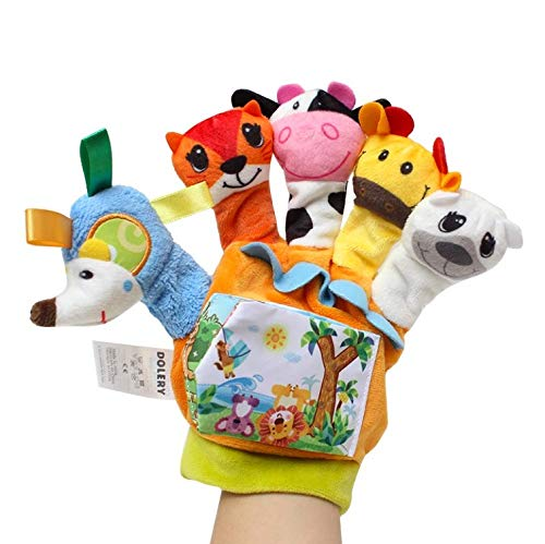 Cedasme - Hand Puppets for Kids, Soft Stuffed Plush Material,Baby Toddler Zoo Play Gift Story Telling Finger Puppet Hand Glove for Kindergarten Teaching Toys - Five Different Cute Style.