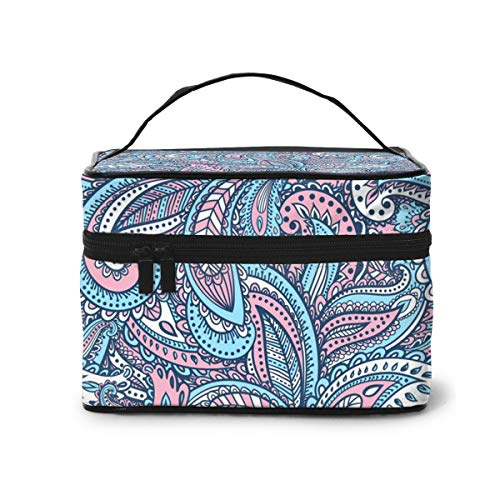 AHOOCUSTOM Beautiful Indian Paisley Ornament Large Makeup Bag Travel Multifunction Cosmetic Case Toiletry Organizer Portable Train Case for Women and Girls