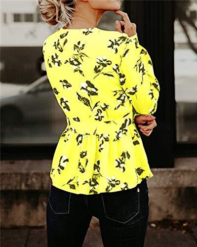 Camicette Floreale Stampa Manica Lunga Profondo Donna Camicia Chic Elegante Cinghia Casual Sexy Camicie Camicia da con V Scollo della Snone Lunga Manica Giallo Signore a Stile Allentato retrò YTUcq