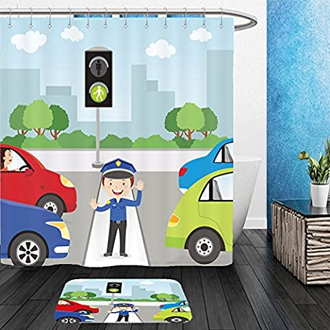 Vanfan Bathroom 2Suits 1 Shower Curtains & 1 Floor Mats traffic policeman is making a stop gesture signal to control traffic 491463817 From Bath - Echelon Echelon Shower Locker