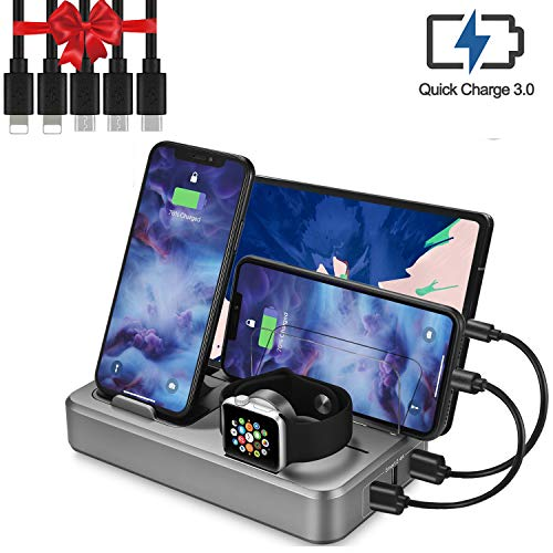 Sendowtek USB Charging Station Multi Devices 5-Port 50W Fast Charger Docking Station QC 3.0 Desktop Watch Stand Organizer 5 Mixed Cables for Android Phone,Tablet and Other Electronic Devices UL Listed