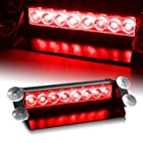 8 LED Warning Caution Car Van Truck Emergency Strobe Light Lamp For Interior Roof / Dash / Windshield (Red)