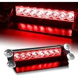 8 LED Warning Caution Car Van Truck Emergency Strobe Light Lamp For Interior Roof / Dash / Windshield (Red)
