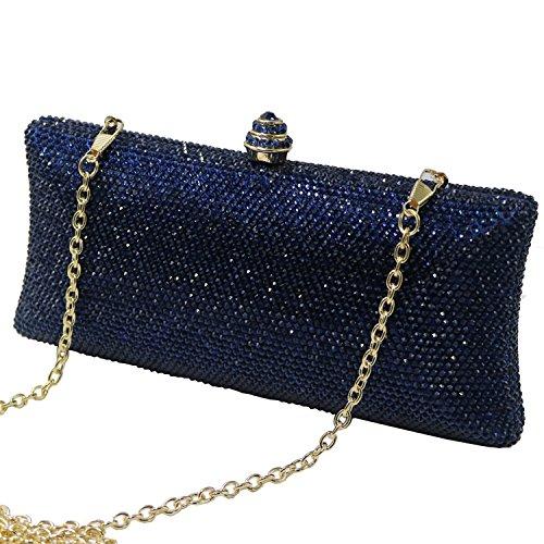 Aysemo Rhinestone Crystal Women Clutch Handbag Purse eveing dress -4016C (blue) (Handbag Jeweled Rhinestone)