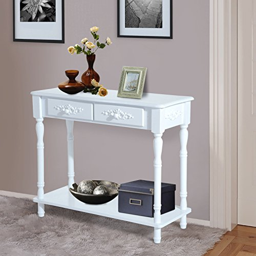 New MTN-G Wood 2-Drawer Hallway Entryway Console Table w/ Shelf Traditional Style – White Review