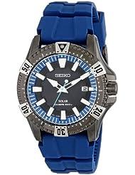 Seiko Mens SNE283 Gunmetal-Tone Stainless Steel Watch with Blue Polyurethane Band