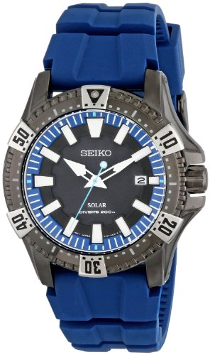 Seiko Men's SNE283 Gunmetal-Tone Stainless Steel Watch with Blue Polyurethane Band ()