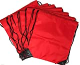 20 x Bulk Drawstring Backpack - Sports Bag Cinch Sack (Red)