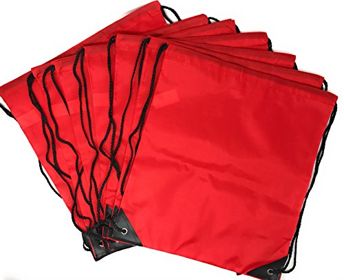 20 x Bulk Drawstring Backpack - Sports Bag Cinch Sack (Red)