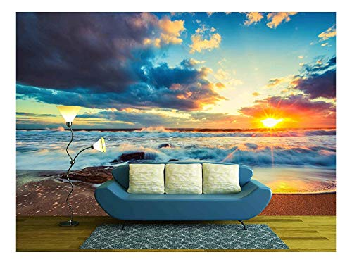 wall26 - Beautiful Cloudscape over the Sea, Sunrise Shot - Removable Wall Mural | Self-adhesive Large Wallpaper - 66x96 inches (Beach Mural)