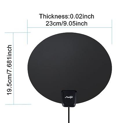 60 Miles Black Oval TV Antenna, Prestige high definition indoor hdtv antenna , 16.4ft