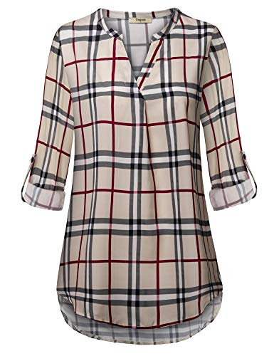 Timeson Tunics for Women to Wear with Leggings, Chiffon Blouses & Tops for Women Button Up Blouse 3/4 Sleeve V Neck Shirt Lightweight Loose Fitted Ladies Plaid Hem Shirts(Large, Beige Orange) ()