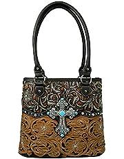La Dearchuu Tote Bag Women PU Leather Shoulder Bag Ladies Handbags with Zip Laser Cut Studded Shoulder Bag Flower Patterned Bags for Women Western Handbag
